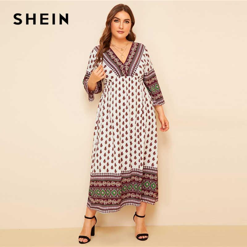 SHEIN, разноцветное Макси платье размера плюс с v-образным вырезом и ацтекским принтом, высокая талия, 2019, женское весенне-летнее расклешенное платье в стиле бохо с завышенной талией