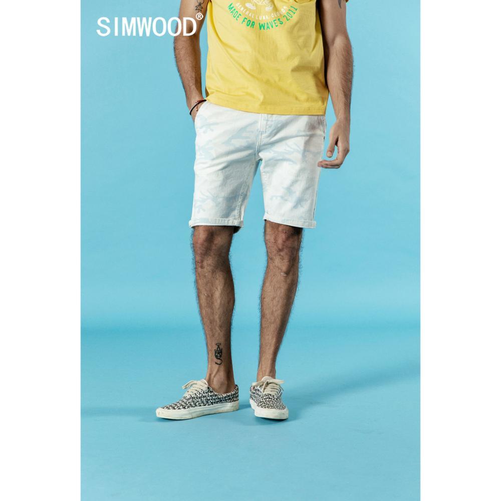 SIMWOOD 2020 Summer Denim Shorts Men Fashion Brand Clothing Casual Cotton Knee Length Short Jeans Plus Size 180224