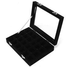 24 grid Display Box Jewelry Storage Glass Bracelet Watch pillow Buckle