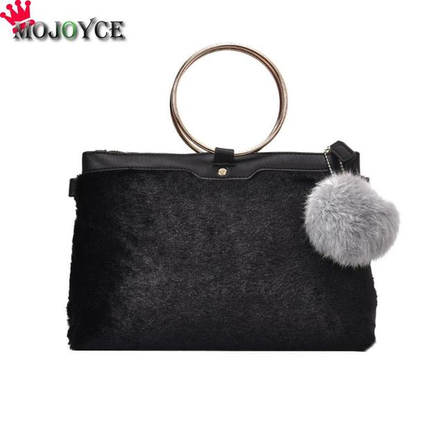 dc3202d82531 Women Handbags Fashion Round Ring Handbag Faux Fur Shoulder Crossbody Bag  Round Ring Newest Tote Sac a Main Mujer