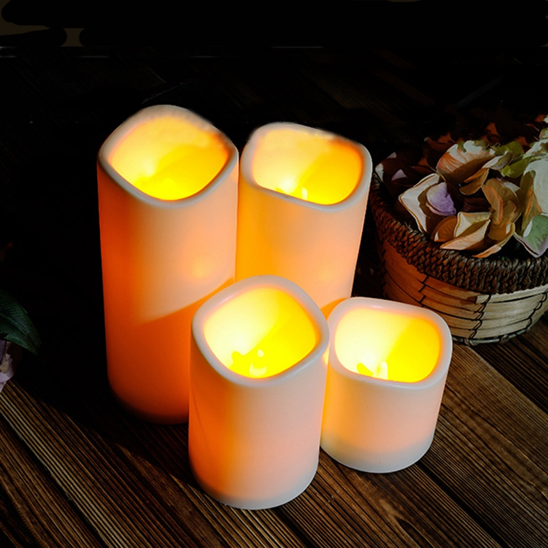 Cylindrical Flickering Flameless Pillar LED Night Light Lamps Battery Operated For Bedroom Candles Tea Light Wedding Party Decor