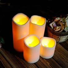 Cylindrical Flickering Flameless Pillar LED Night Light Lamps Battery Operated For Bedroom Candles Tea Light Wedding