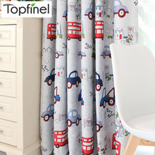 Top Finel Cartoon Car Curtains for Kids Bedroom Beautiful Boys Girls Room Curtains Drapes Ready Made Window Curtains Blackout(China)