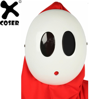 XCOSER 2018 Brand New Super Mario Shy Guy Kawaii White Mask Game Cosplay Props Full Face Cute Mask Party Cosplay Accessories
