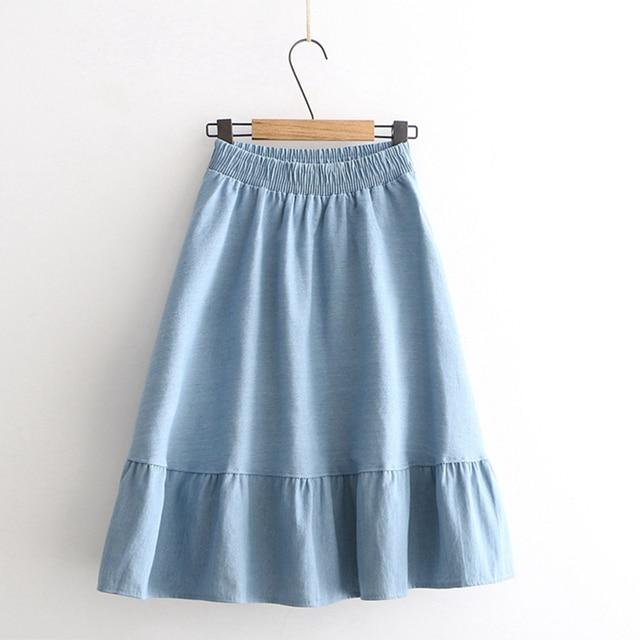 484aeef89 Verano fresco pequeño suelto casual cintura elástica Simple empalme de  vaquero faldas azul Mujer