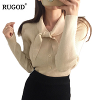 RUGOD Women Slim Bow Collar Long Sleeve Knitted Cardigan Sweaters Female Casual Solid Shrugs Short Jacket