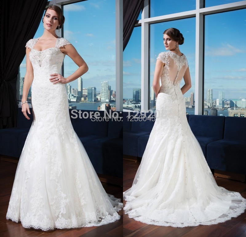 Trumpet Style Wedding Gowns: FashionIn Style With Cap Short Sleeves Beads Pearls Lace