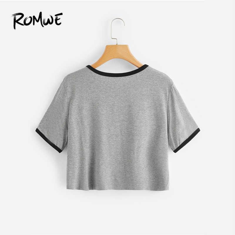 fa9f0ab9dd8 ... ROMWE Girls Alien Print Ringer Tee Swish Summer Grey Basic T-shirt  Fabulous Korean Clothes ...