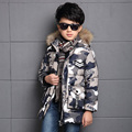 2017 Winter Children Camouflage Wadded Coat Boys Thickening Long Cotton Padded Jacket Clothes Overcoat Kids Hooded Outerwear A29