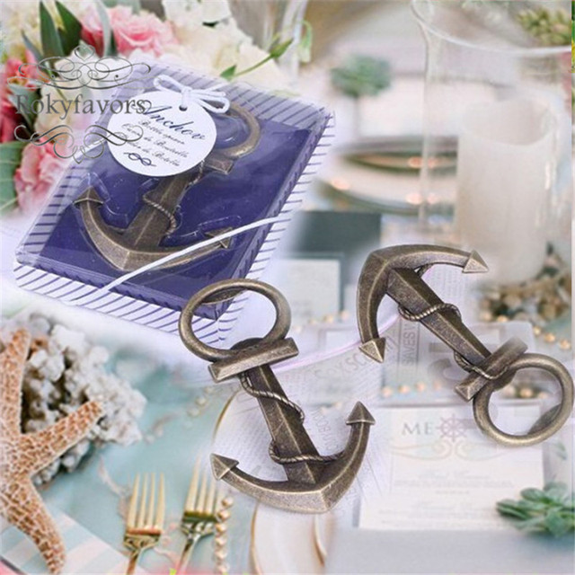 free shipping 50pcs anchor bottle opener wedding favor beach themed nautical bridal shower sea party supplies