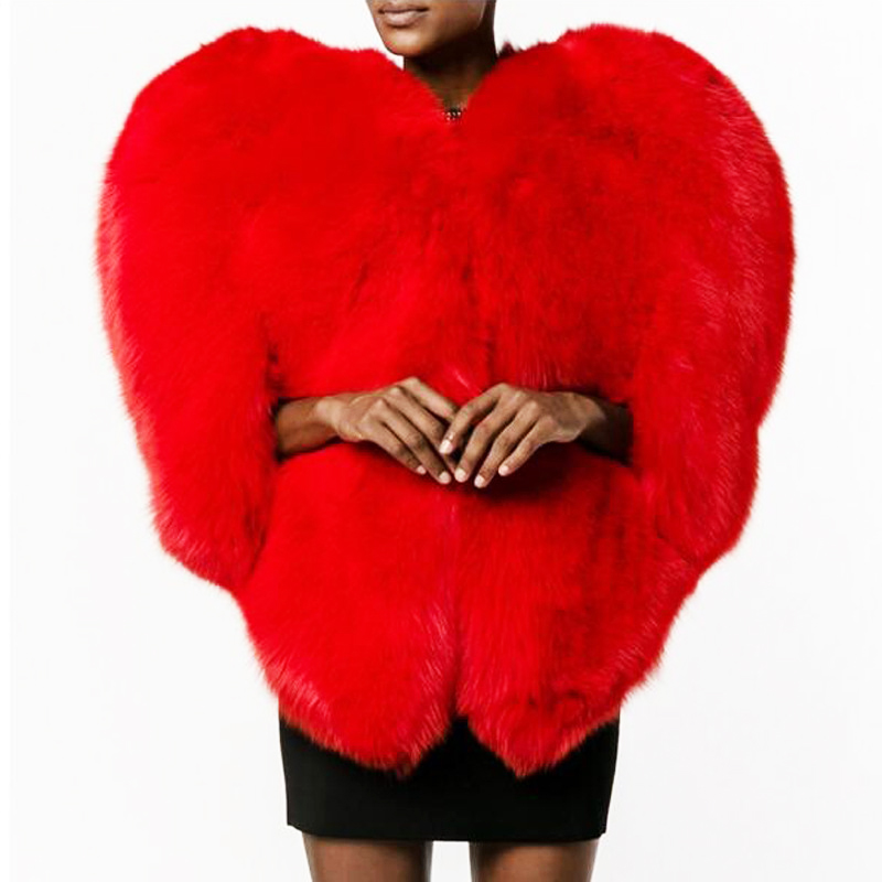 3D Heart Shape Faux Fur Coat Winter Jacket Women Coats Jackets Femme Red Color Coats Womens Mujer Damen Pelzmantel Fall Jacket