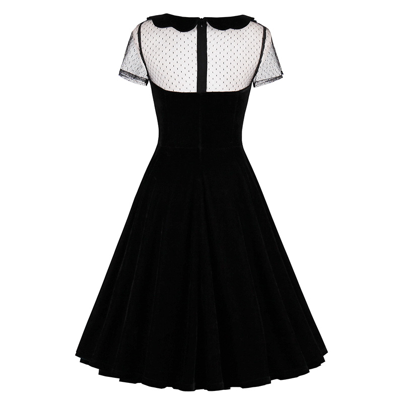 Sisjuly 2018 Summer Female Party Dress Solid Black Dresses Sexy Hollow Out Vintage Gothic Dress Summer Peter Pan Collar Dresses 1