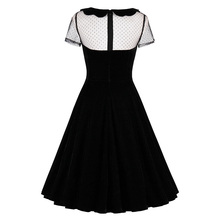 Female Party Dress Solid Black Dresses Sexy Hollow Out Vintage Gothic Dress Summer Peter Pan Collar Dresses