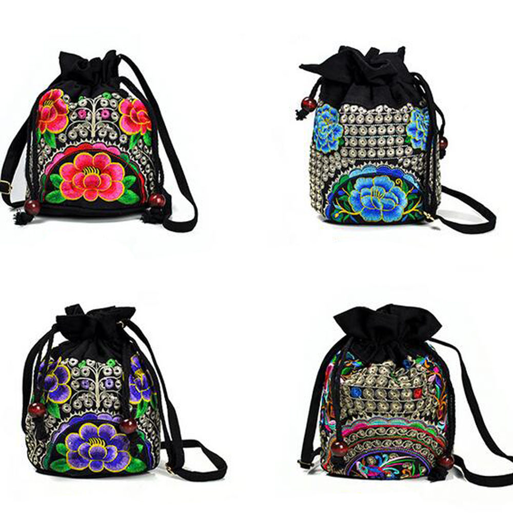 Bag Yunnan Shoulder Messenger Bucket Bag Ethnic Embroidered Drawstring Bucket Small Travel Handbag