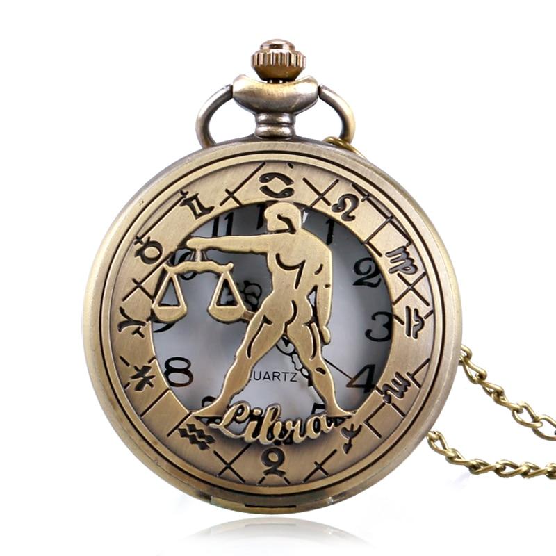Унікальний гороскоп тема кишенькові годинники чоловіки жінки порожні сузір'я ретро кулон зодіаку намисто Fob годинник подарунок для ваг