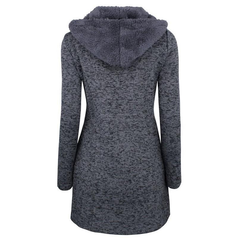 2018 Europe amérique automne et hiver mode nouveau slim épaississement grande taille corne boucle à capuche en laine manteau veste femme G20