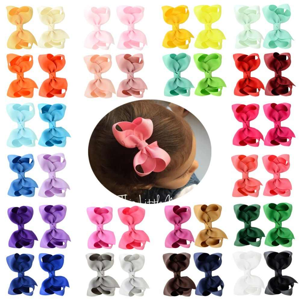 1piece 3 Inch Solid color Summer Grosgrain Ribbon Bows WITH Hair Clips Boutique kids Hair Accessories 563