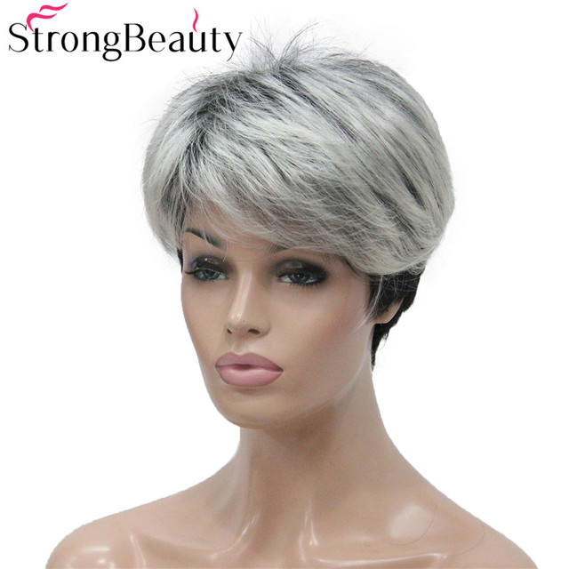 強力な美容ショートグレー黒ウィッグ 2 トーン女性のかつらサイド掃引前髪人工毛