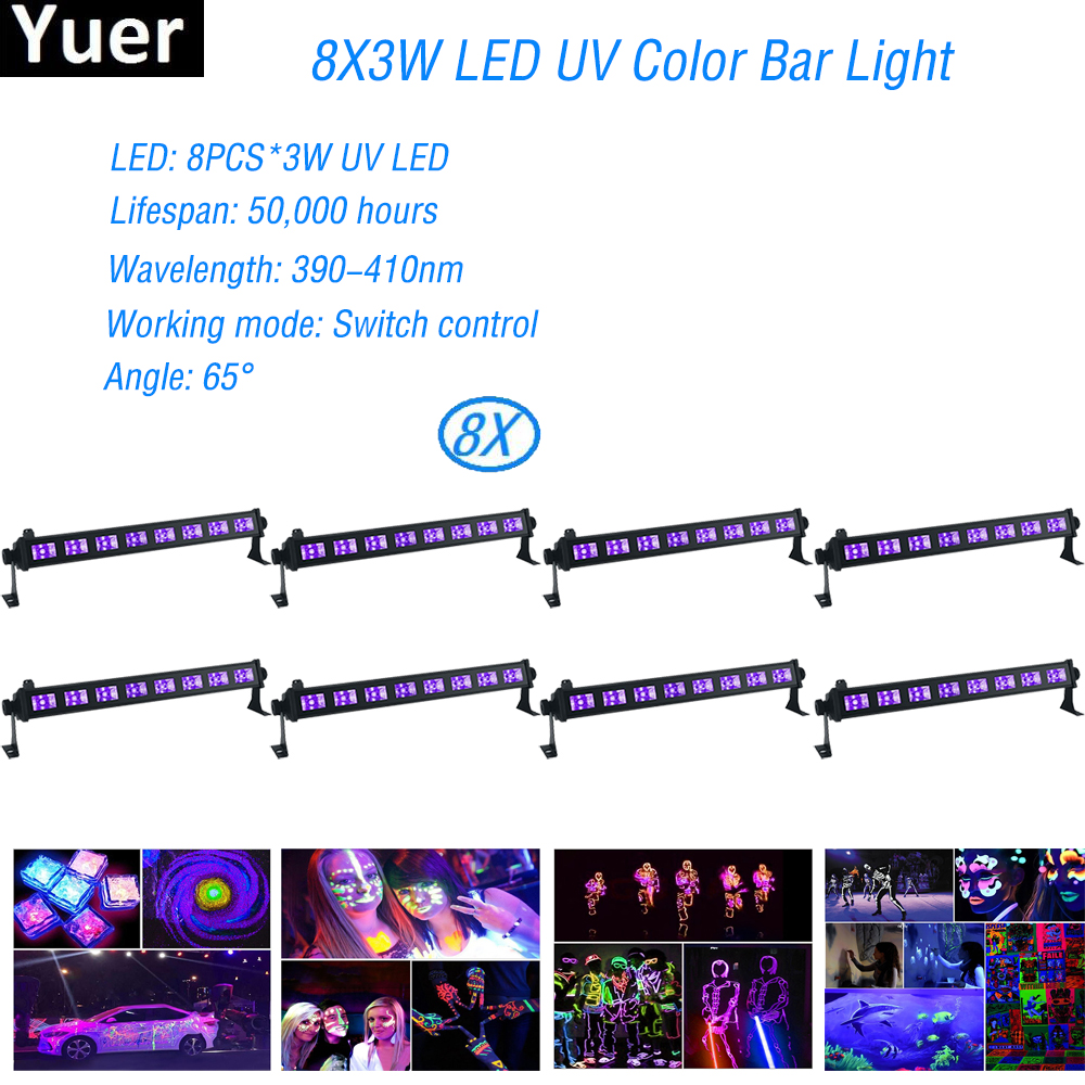 цены LED UV Color Bar Wall Washer Light 8X3W Bar Laser Projection Lighting Party Club Disco Light For Christmas Indoor Stage Lights