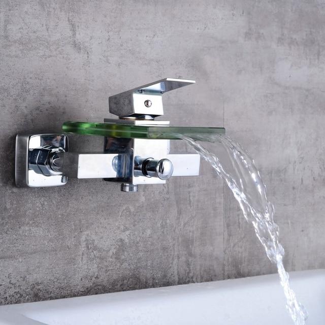 Spedizione gratuita in ottone e vetro cascata rubinetto vasca da bagno rubinetto fissato al muro for Rubinetto vasca da bagno