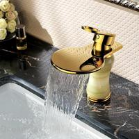 Continental Gold Full copper basin taps classical imitation marble waterfall faucet new authentic natural jade