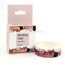 1x 15mm Wide Animal Crowded Cat Decoration Diary Washi Tape DIY Scrapbooking Sticker Label Masking Tape School Office Supply