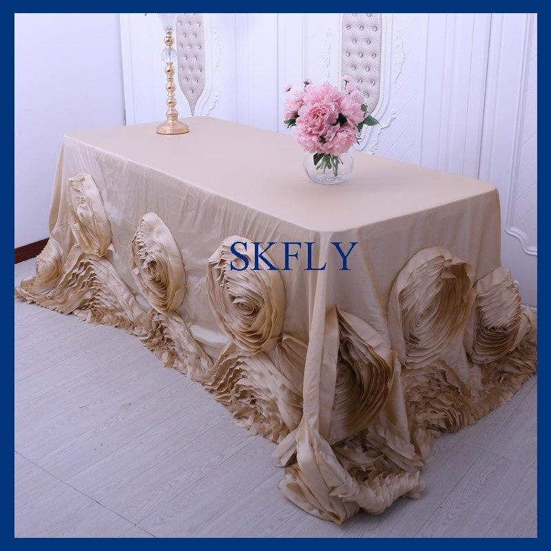 CL052CA  Popular fancy  wedding 6ft rectangle 90*132 champagne table cloth with roseCL052CA  Popular fancy  wedding 6ft rectangle 90*132 champagne table cloth with rose