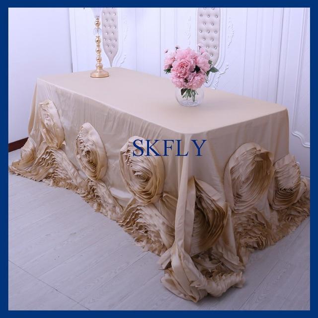 Attirant CL052CA Popular Fancy Wedding 6ft Rectangle 90u0027u0027*132u0027u0027 Champagne Table Cloth