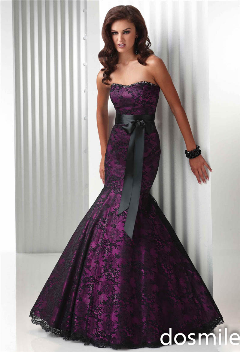 sexy evening dresses 2016 fashion long dark purple sweetheart strapless  mermaid prom dresses party dresses with black sash-in Prom Dresses from  Weddings ...