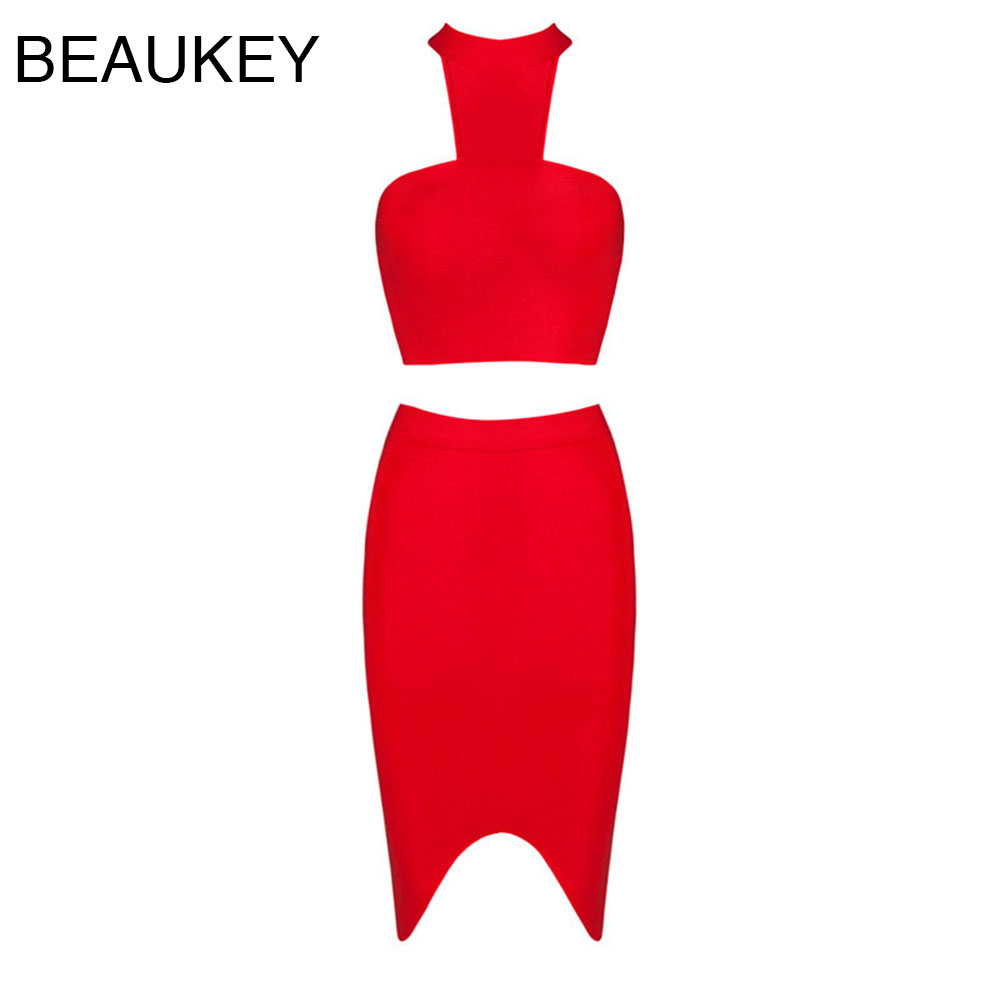 Rayon 2 Pieces Set Red Halter Knee Length Sexy Women 2016 New Fashion Bodycon Bandage Dress