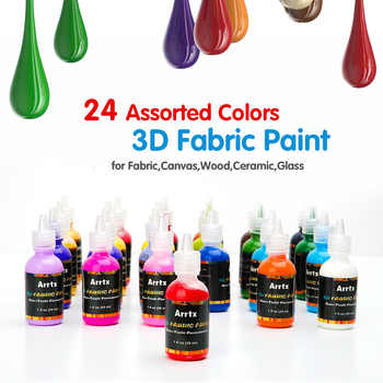 Arrtx 24 Assorted Colors 3D Fabric Paint 29ml/tube Not-toxic Paint Application for Wood/Ceramic/Glass/Metal Painting