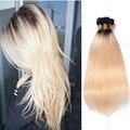 Reta malaio 1b/613 loira feixes de cabelo weave 3 pçs/lote 613 loira raízes escuras ombre virgem do cabelo humano de 613 feixes de cabelo