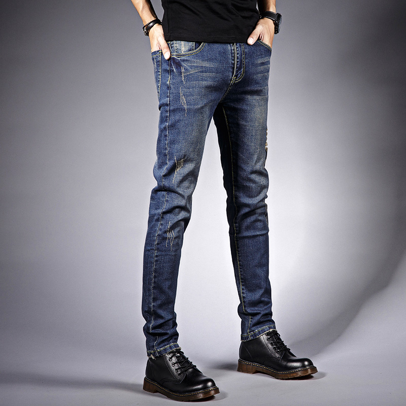 Left ROM 2018 New Fashion Mens Solid Color Stretch Skinny Jeans Feet Pants Mens Fashion Boutique Elasticity Casual Blue Jeans