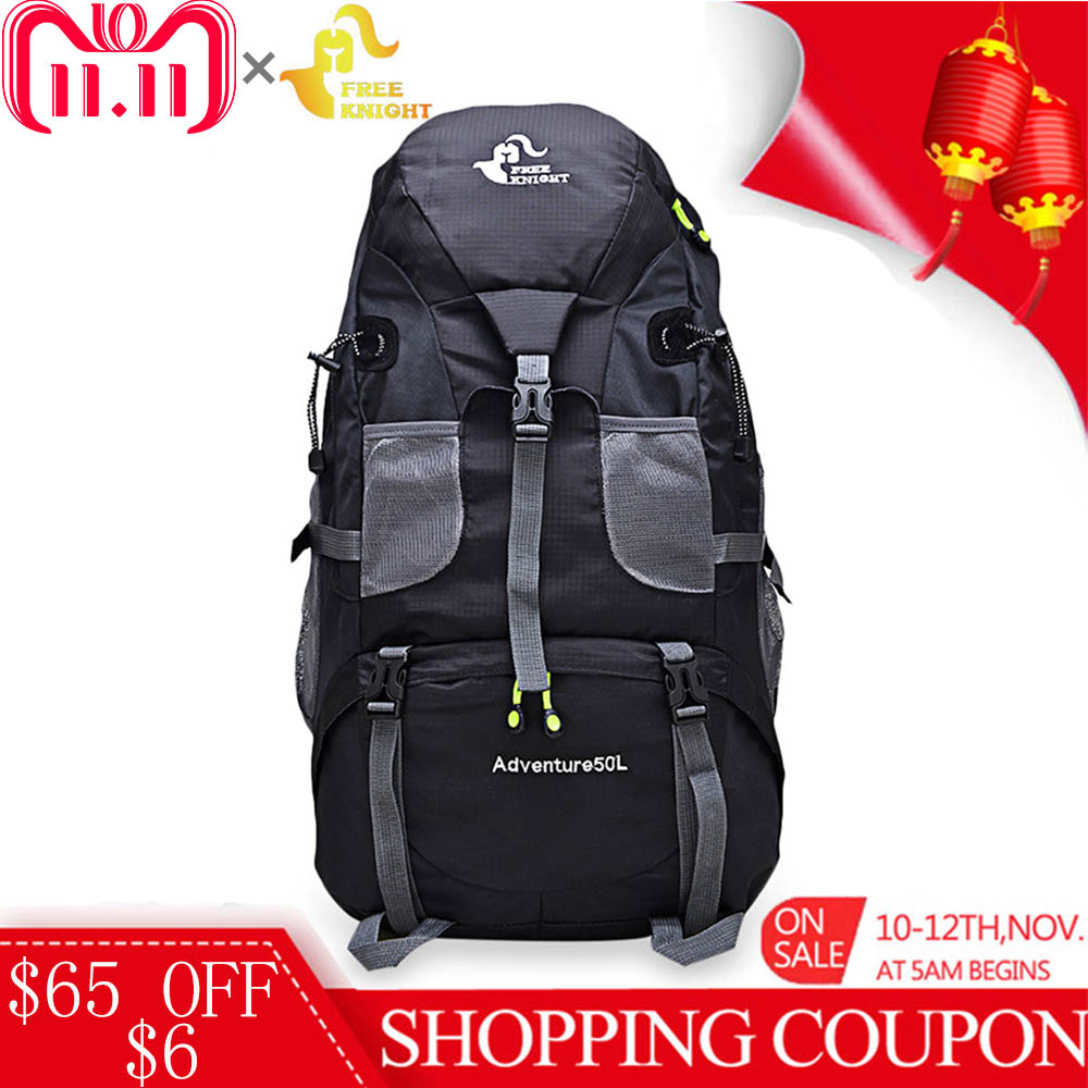 Free Knight 50L Waterproof Mountaineering Backpack Climbing Cycling Camping Travel Bag Rucksack 5 Color Outdoor Sport Molle Bag locallion 50l outdoor backpack camping bag waterproof mountaineering hiking backpacks molle sport bag climbing rucksack