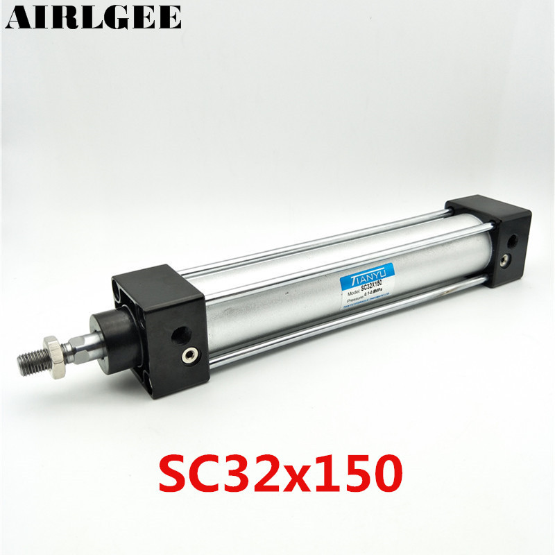SC32 x 150 Single Thread Rod Dual Action Air Cylinder 32mm Bore 150mm Stroke Free Shipping sc32 150 airtac type standard air cylinder 32mm bore 150mm stroke sc32 150 single rod double action pneumatic cylinder sc 32 150