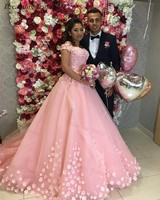 Stylish 3D Flowers Quinceanera Dresses Pink Tulle V neck Off Shoulder Masquerade Ball Gown Sweet 16 Dress Vestidos De 15 Anos