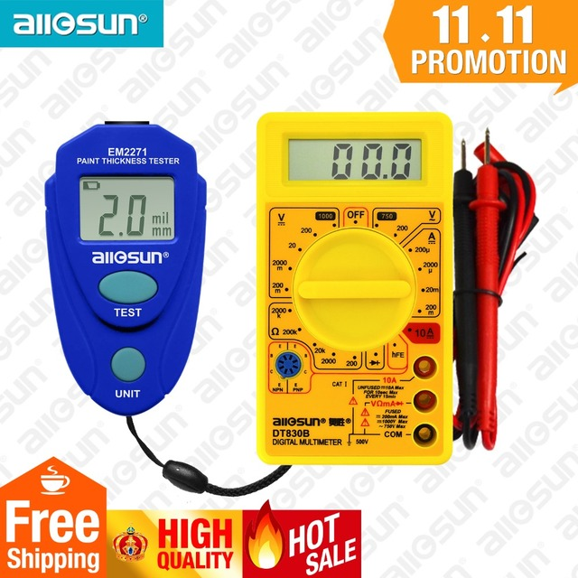 all-sun Digital Thickness Gauge Coating Meter Car Thickness Meter  EM2271 + Digital Multimeter DT830B Ship from Russia