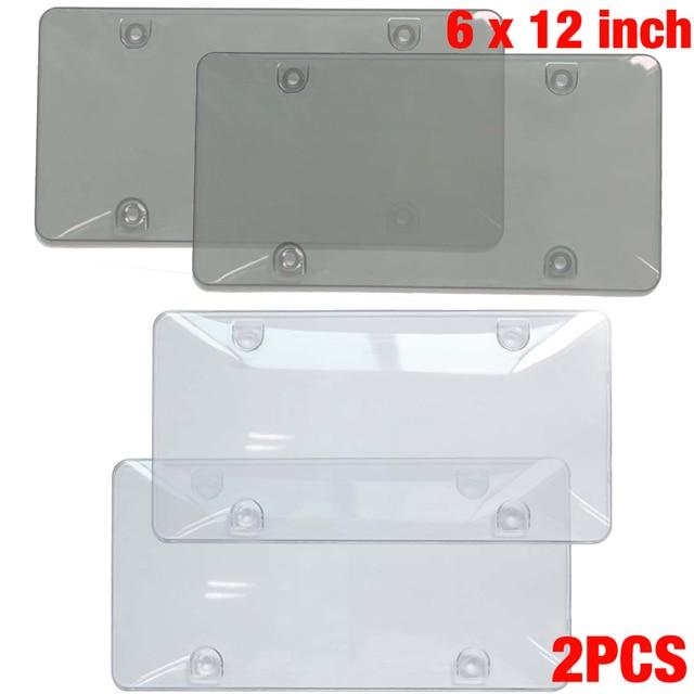 Fit Standard 6x12 inch / US 2 PCS/Set Smoke Clear License Plate Tag ...