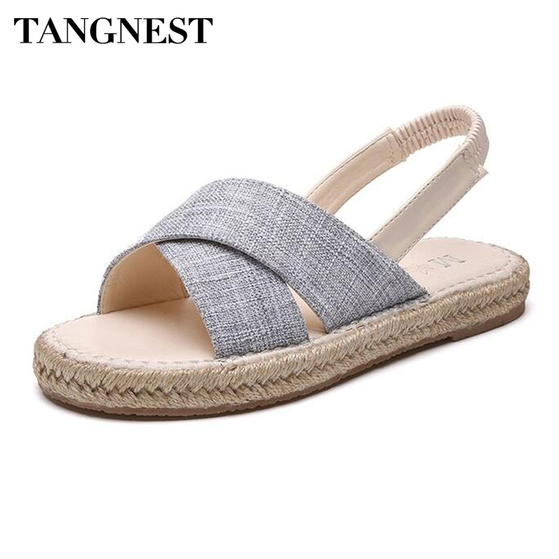 Tangnest NEW Summer Women's Hemp Sandals Casual Cross-tied Slip-on Flat Sandals Casual Open Toe Platform Flats Shoes Woman zorssar fashion summer women sandals flats casual 2018 new flat heel sport sandals open toe beach shoes womens platform shoes page 1