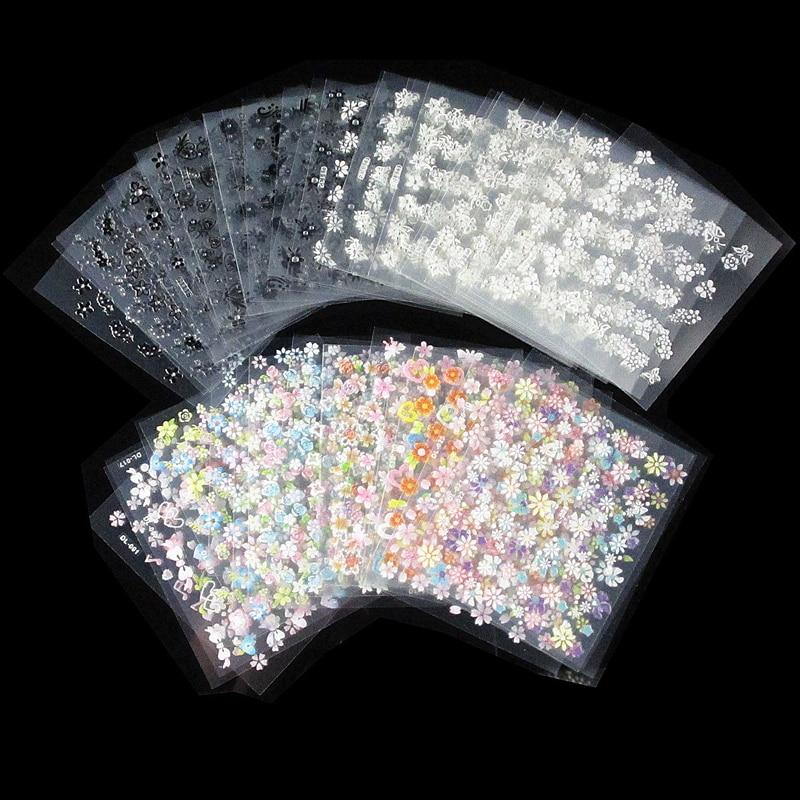 50Pcs/Lot Nail Art Stickers Black/white Flowers Design 3D Self-adhesive Foil Sticker