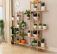 Indoor family use Nordic flower rack real wood balcony sitting room succulent green plants shelf floor   to   floor multi   laye|Pot Trays| |  -