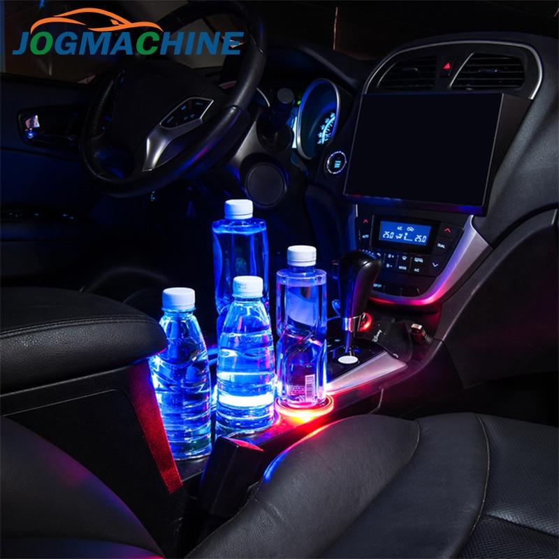 1pcs Universal Solar LED Car Cup Holder Mat Anti Slip Waterproof Pad Bottle Drinks Coaster Atmosphere Lamp For Car SUV Truck