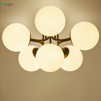2016 Classic Nordic Frosted Glass Ball Chandelier Led 3 Head 6 Head Iron Chandelier For Dining Room Bedroom