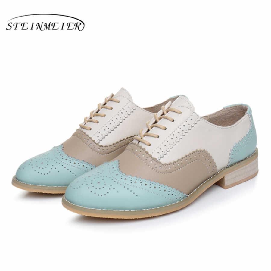 Vrouwen oxford Lente schoenen echt leer instappers voor vrouw sneakers vrouwelijke oxfords dames enkele schoenen riem 2019 zomer schoenen