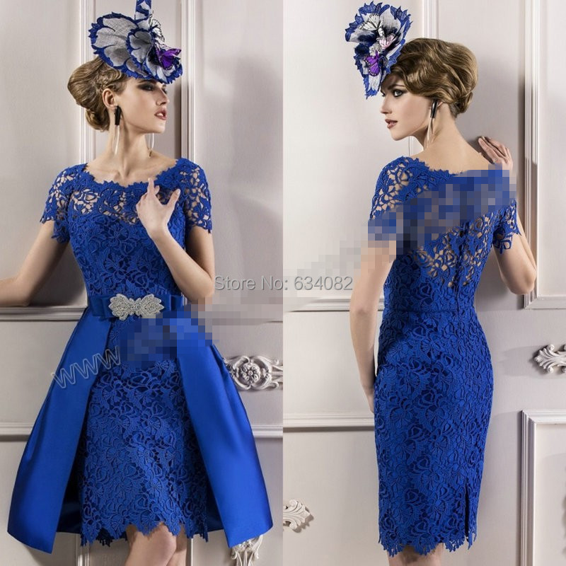 Modest Custom Made 2016 Elegant Mother Lace Royal Blue Short Sleeves Evening Dress Mother Of The Bride Dresses Lace