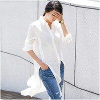 100% silk blouse shirt for women 2019 spring fashion white color long style elegant long sleeve blouse shirt