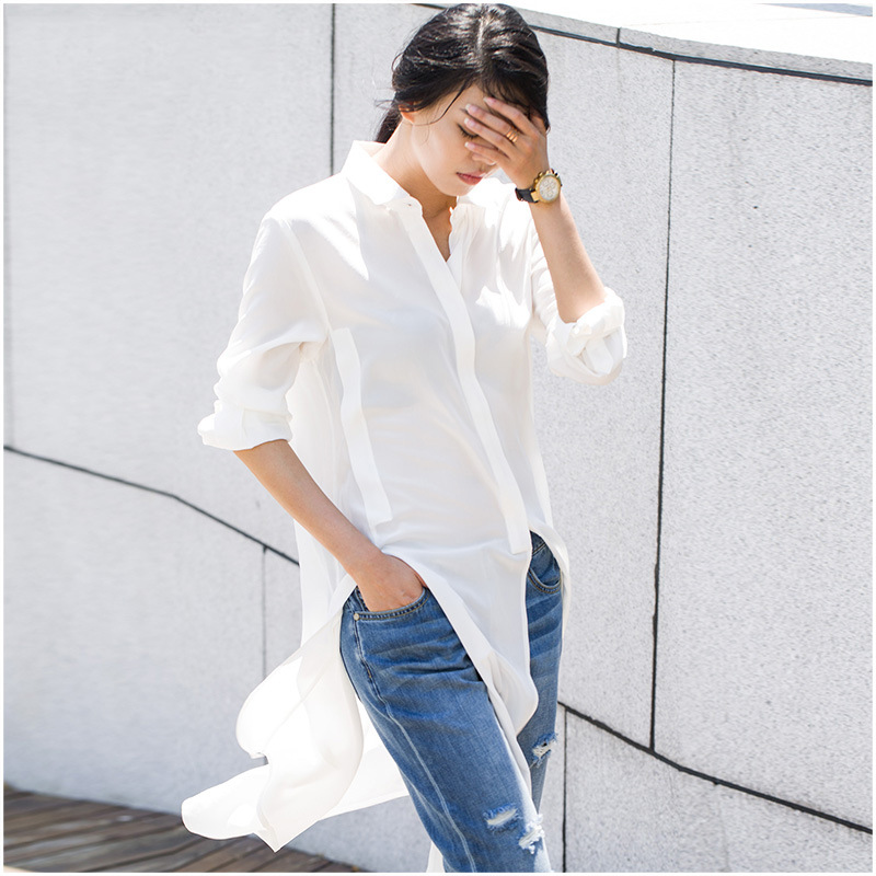 100% silk blouse shirt for women 2019 spring fashion white color long style elegant long sleeve blouse shirt