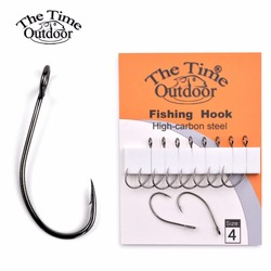 Thetime big eye single Barbless hook high carbon steel with Barbed fishing hooks tackle for Sea Bass Perch zander crappie