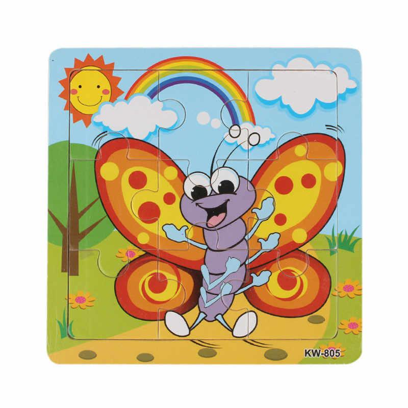 9 шт. деревянные пазлы головоломки с животными игрушки для детей обучающие и Обучающие пазлы Игрушки Утка слон пчела панда самолет # ZXT