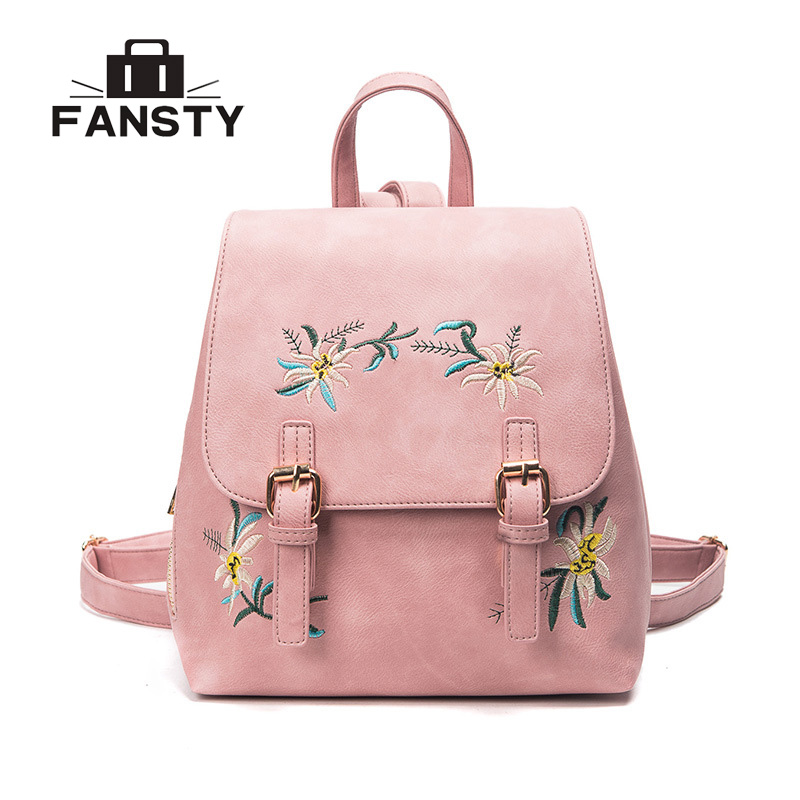 New Girls National Embroidered Designer School Backpack Women PU Leather Travel Bag Big Capacity Flower Female Rucksack Pocket